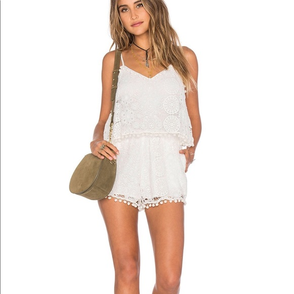 White crochet romper with pockets